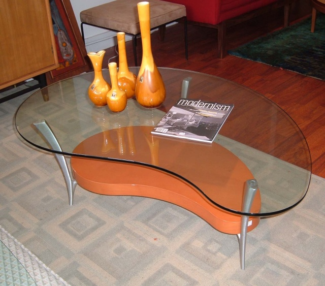 1950 S Style Retro Amoeba Kidney Shaped Glass Coffee Table With Brushed Aluminum Legs