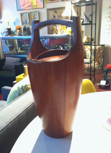 Teak Dansk ice bucket. 9 inches in diameter, 19 inches tall.  $345
