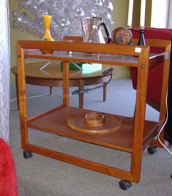 danish modern teak serving cart - SOLD
