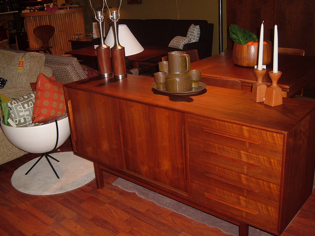 """Danish Modern Teak Credenza, bank of 4 drawers on the right side and pair of sliders with open storage inside on the left. made in denmark measures 60 1/4""""L x 17""""D x 29""""H - SOLD"""