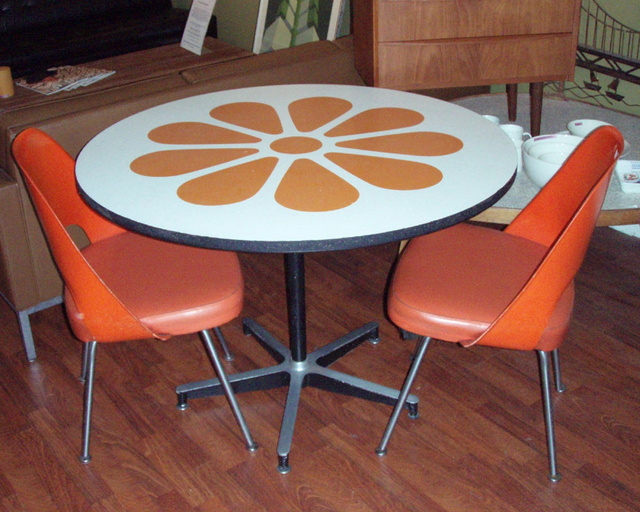 """Hey, remember this? its like """"barbie's"""" condo daisy motif dining table with eames style contract base (laminate trim on edge has been removed and 2 small knicks to table top are not too noticeable)   TABLE is SOLD  Vintage saarinen chairs,  3 for sale; 4th chair needs a base is(free)!!!"""