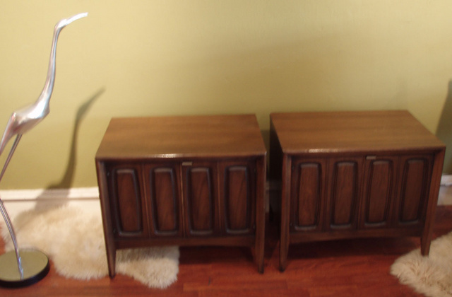 Pair of danish modern side tables/nitestand w/ open storage inside. -  SOLD