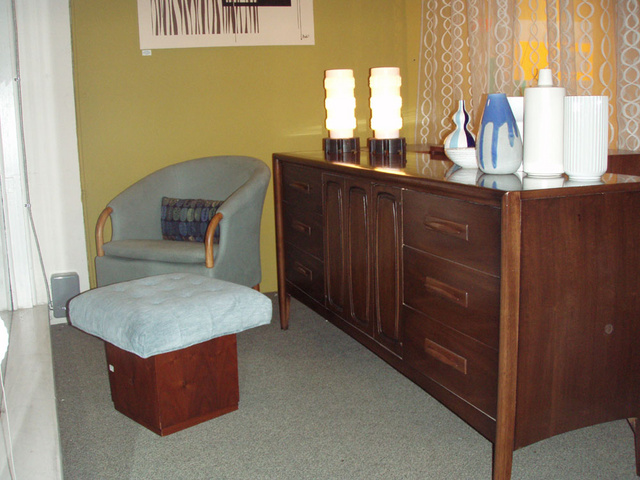 Danish modern walnut dresser/credenza with plenty of storage.  Additional drawers behind center doors.   SOLD