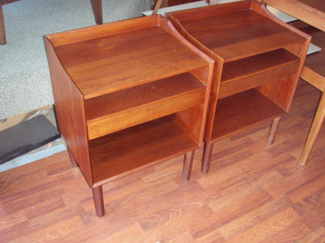 Pair of John Stuart danish side tables/nitestands with drawer and shelf in teak wood, retains original label, great dovetail joinery/detail and the backs are finished!  (will not sell separately)   - SOLD  ***FREE SHIPPING within the Continental USA-on all orders paid for by 12/23/06***
