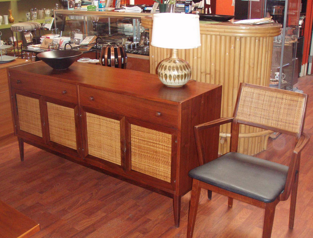 """Vintage modern walnut credenza with (2)pairs of caned doors/compartments & 2 drawers measures: 60""""L x 30""""H x 18""""D Inside Dimensions: Drawers: 27 1/2""""L x 3 1/2""""H x 17 1/2""""D                                 pr.dbl. door: 28 3/4""""L x 17 3/4""""D x 14""""H Note: This credenza compliments the matching vintage solid walnut dining set displayed close by. Shipping to NY or Florida $360.00 including insurance and white glove delivery!   - SOLD"""