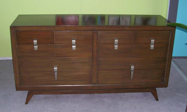 Mid century modern walnut dresser, fantastic  stainless steel style pull 62in. x 19in. 33 1/4in. height - SOLD AVAILABLE: Matching nitestand  24in. x 15in. 26 in. height  - SOLD