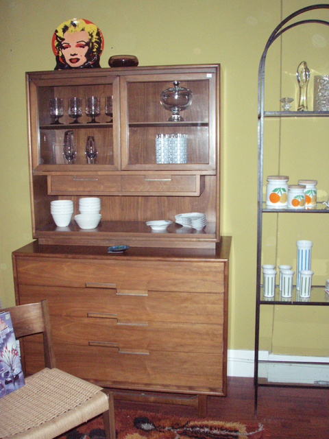 "Vintage Walnut China Cabinet/Credenza by ""Cavalier"", Dimensions:Credenza:H 38 1/2 in. W 21 in. L 42 in. China Cabinet H 35in. W 14in L 38  1/2 in. 
