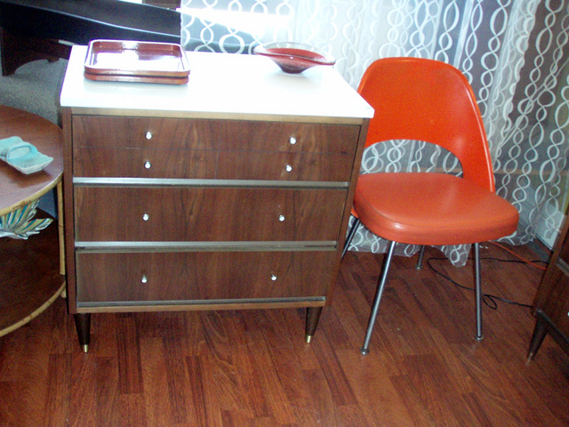 George Nelson Styled Thin edge dresser ( 3 drawers) w/ white laminate top. SOLD