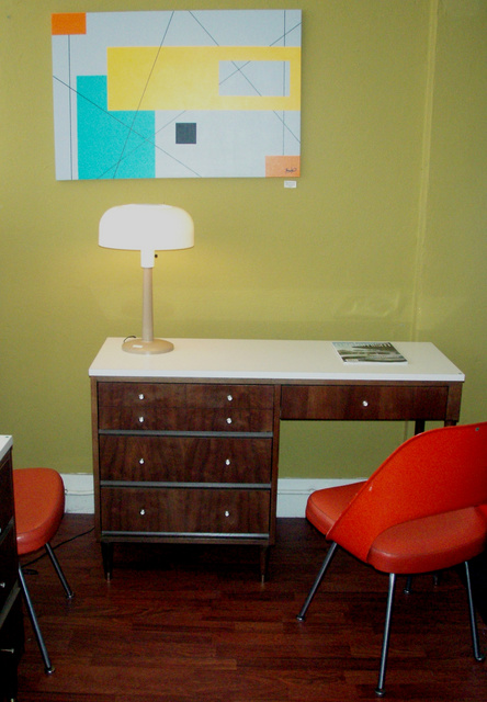 George Nelson Styled Thin edge desk (3 drawers) w/ white laminate top.  SOLD