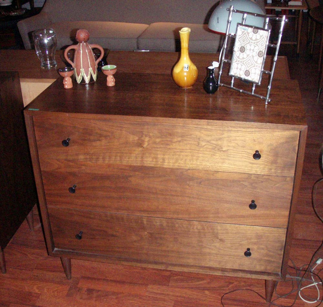 George Nelson styled walnut thin edge dresser with 3-drawer storage and  cool pulls/hardware.  - SOLD