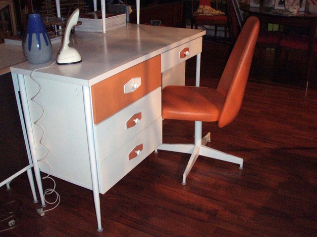 "Mod, Mondrian mid century desk, dresser set ""Brady bunch style. Color: bright white & orange