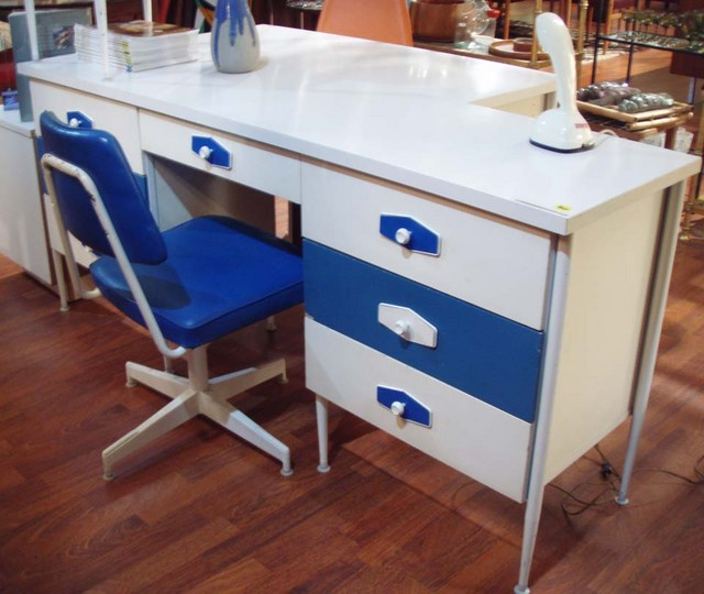 """Mod, Mondrian mid century desk, dresser set """"Brady bunch style. Color: white & IBM blue Desk/dresser measures :  67 1/2""""L x 17 1/2""""D x 30"""" H (2) banks of drawers flank center opening for matching swivel office chair and side table. $795"""