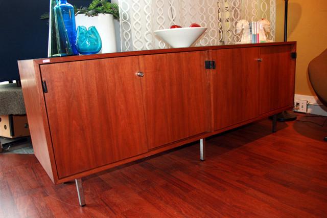 "Knoll Credenza.  4 sliding doors with original leather pulls.  Doors lock.  71"" L x 18"" D x 27"" H  $1295 SALE $1050"