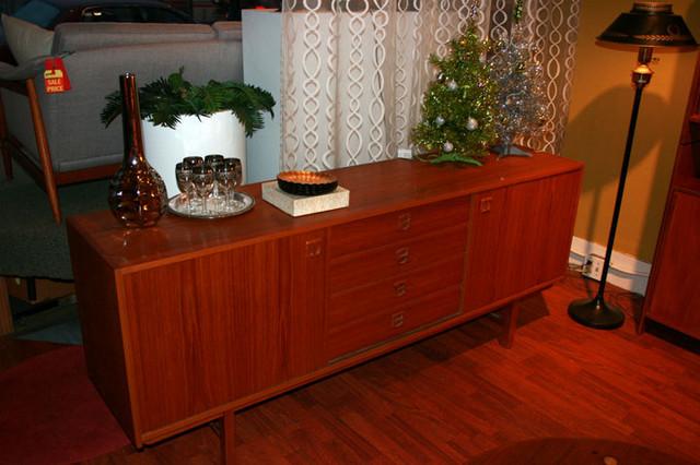 SALE Long teak credenza with adjustable shelves, sliding doors and drawers.  72 L x 16.5 D x 29.5 H $1500  ON SALE $1200