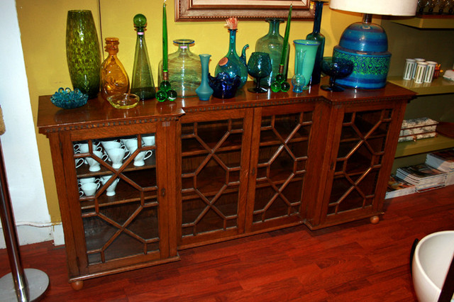 oak and glass antique buffet.  a great piece to make your space more ecletic. $695 