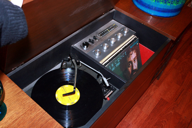 """Vintage  walnut Hi Fi working music a la Mad Men.  Beautiful condition, ready to plug in and play your favorite vinyl. 58""""L x 16""""W x 26""""H $695.00"""