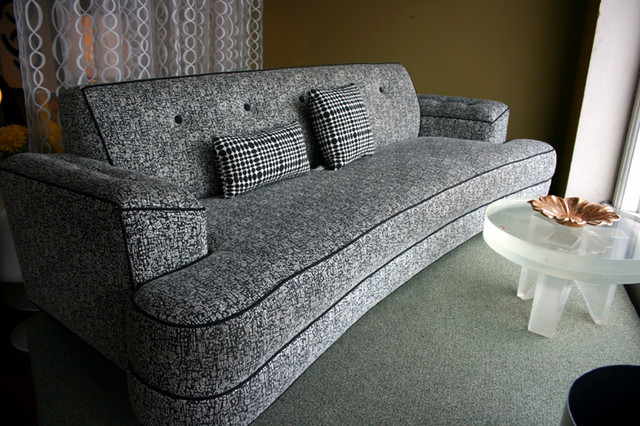 Fabulous 1950 S Style Dog Bone Sofa In Neutral Charcoal Black And White Textural Fabric With