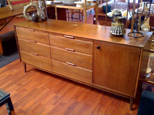 Midcentury Madmen style dresser.  Beautiful wood grain, integrated handles, great condition.  Matches set of nightstands.  66 inches long, 18 inches deep, 30 inches tall. SALE $699.00  - SOLD