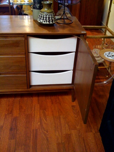 Midcentury Madmen style dresser.  Beautiful wood grain, integrated handles, great condition.  Matches set of nightstands.  66 inches long, 18 inches deep, 30 inches tall.  SALE $699.00   - SOLD  SKU# F0056