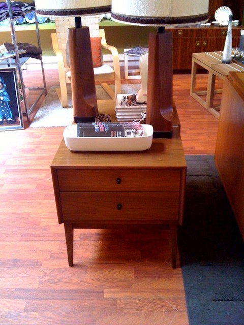 pair of midcentury nightstands.  each with two drawers and petite black metal pulls.  matches dresser.  each measures 22 inches wide, 16 inches deep and 23 inches tall.  $695 for the pair  SKU# F0055