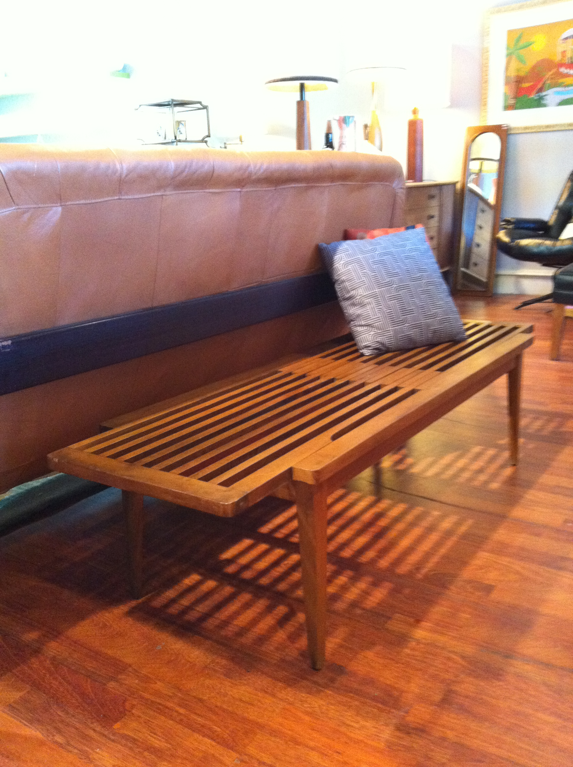 Gallery Vintage mid century modern expandable slat bench