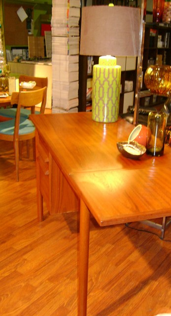 """Danish modern teak desk with drop down leaf and drawers for storage. $695.00 SALE $550.00 44"""" w x 23 1/2""""d x 29""""t drop down leaf 15""""- open 59"""" work surface"""
