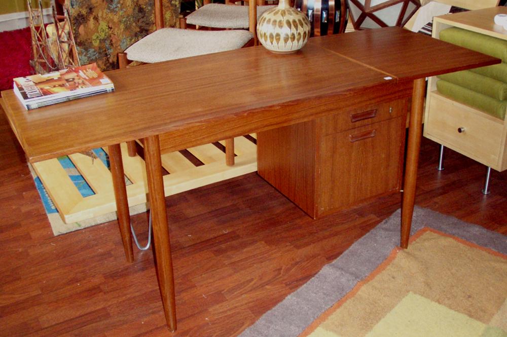 teak desk with leaf up fully extended