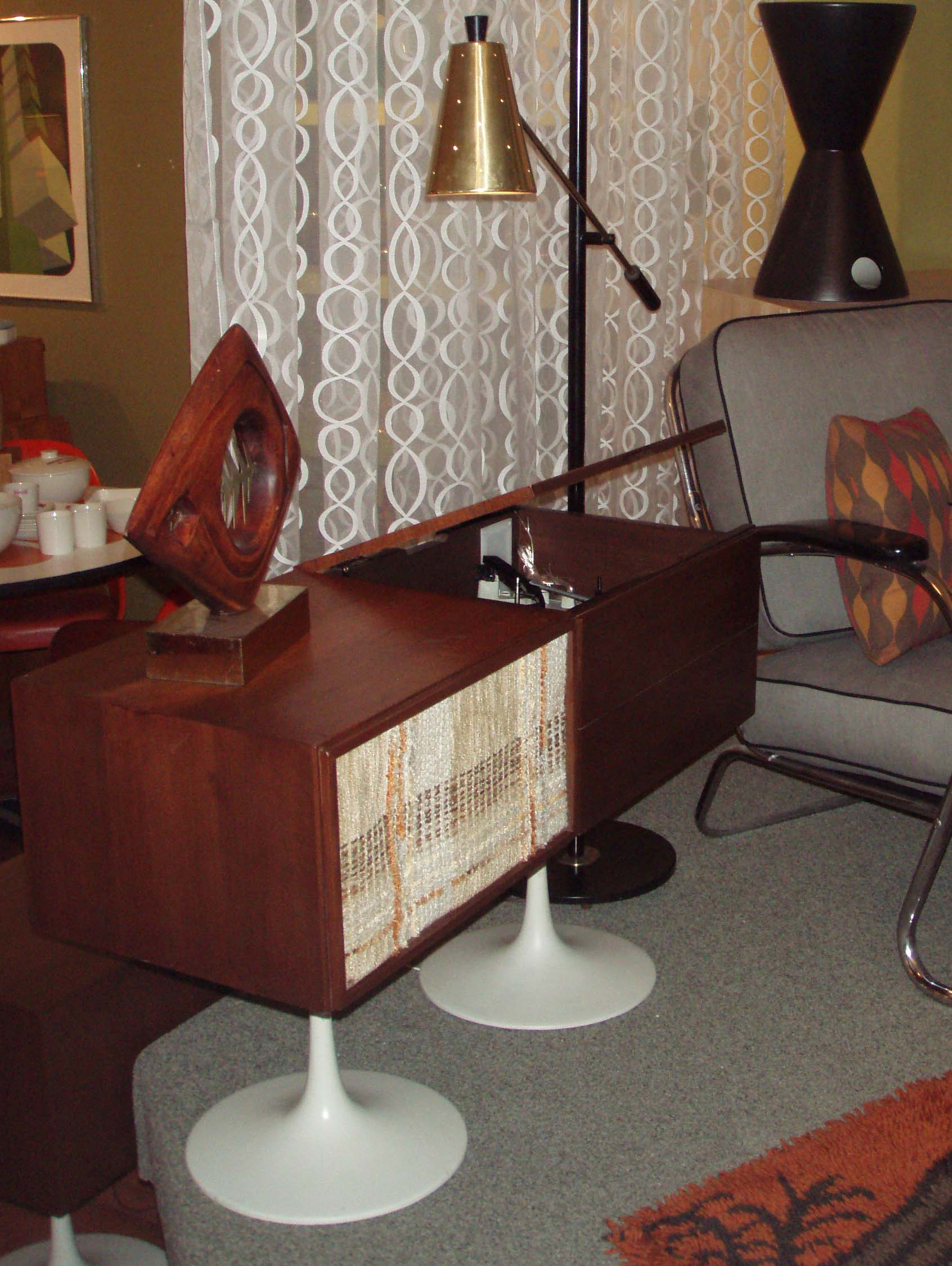 Vintage Hi-Fi 3pc Saarinen pedestal and teak stereo cabinet, mfg by Cambridge Soundworks, distribted by JC Penny's-late 1960's-original nubby fabric on speaker covers and cool pop up component/turntable door $495.00 works, great condition