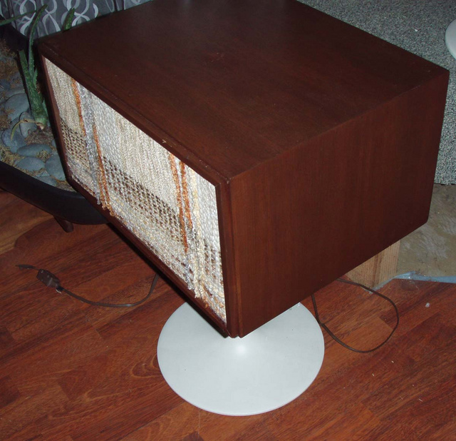 Vintage Hi-Fi 3pc Saarinen pedestal stereo mfg by Cambridge Soundworks, distribted by JC Penny's-late 1960's-original nubby fabric on speaker covers and cool pop up component/turntable door $495.00  (2 ) speakers (1) turntaable works, great condition