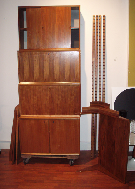 "Mid-century modern, vintage danish teak, CADO wall system designed by Poul Cadovius; 4+ bays, 4 cabinets, 5 shelves with ""L bracket dowel system and 2 working CADO light bars and can be arranged innumerable ways!