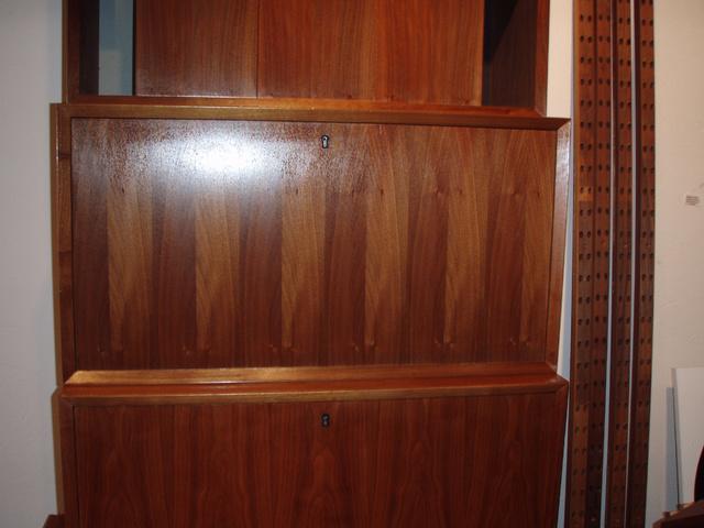"""cabinet 2. has dropleaf door/desk top, retains original key! Cabinet 2 measures: 31 1/2""""W x 16 3/4""""H x 15 1/2""""D With dropleaf door/desk top extended: 29""""D"""