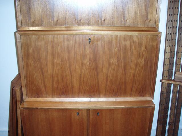 """cabinet 3. has dropleaf door/desk top, retains original key! Dropleaf door/desk top fully extends to 29""""D"""