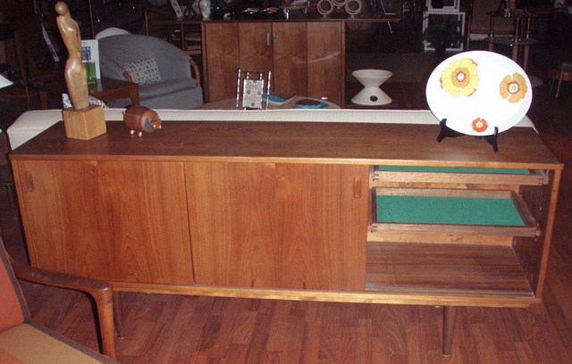 """Vintage teak credenza with slider doors and removable shelves, slim lines and clean styling fit all spaces $1695.00 Measures:  71 1/2""""L x 29 1/2""""H x 16 1/2"""" D Shipping w/in continental USA $375.00 - SOLD"""