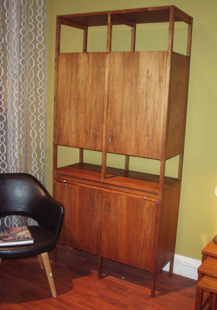 Vintage American danish modern wet bar by Lane company in walnut.