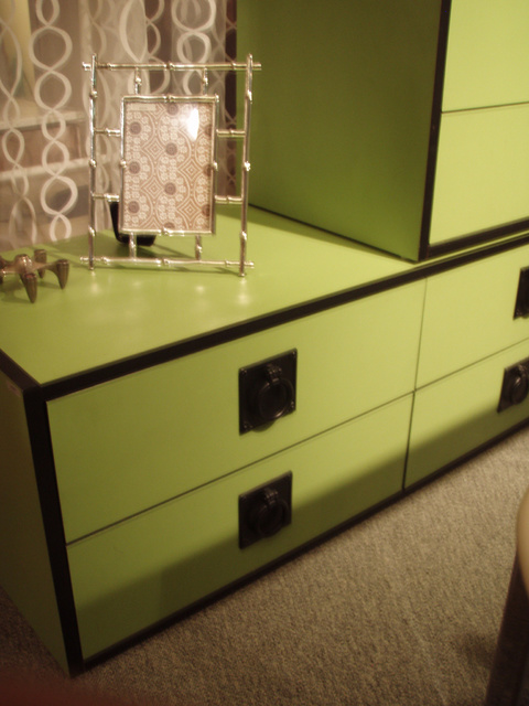 """Mod Op tansu/dresser/storage ala Kelly Wearstler, straight out of '71 Better Homes and Gardens... tall boy, 4 dwr, 2 drwr 1895.00 sold as 3pc set    (1) side table, w/ lock and key, 2 drawers, 25""""W x 17""""D x 16 3/4""""T  (1) medium unit, 4 drawers,  49""""W x 17""""D x 16 3/4""""T  (1) Tall dresser, 7 drawers,  25""""W x 17""""D x 52""""T  these can be stacked or used separately"""