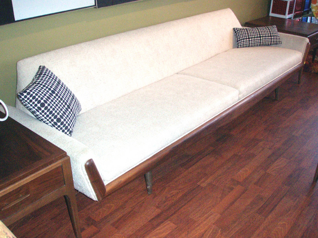 Vintage Early 1960u0027s Mid Century Modern, Long U0026 Low Sofa, With Walnut Toned  Front