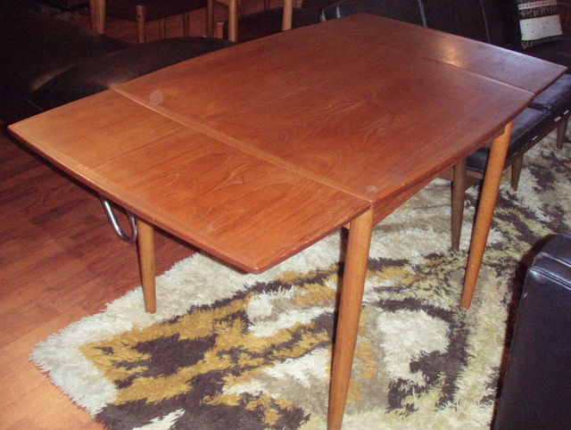 Vintage Danish Modern Teak Dining/game Table (can Be Used As A Desk)