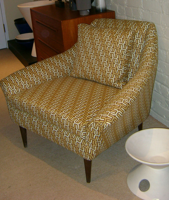 "Vintage danish modern ""dux"" lounge chair, newly upholstered in Limited Edition ""HOUSE INDUSTRIES"" fabric,  $1195.00"