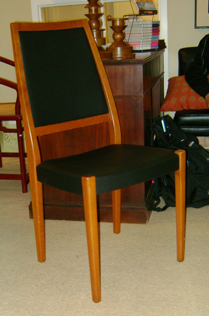 Set of 4 Danish Modern teak dining chairs newly upholstered $895.00