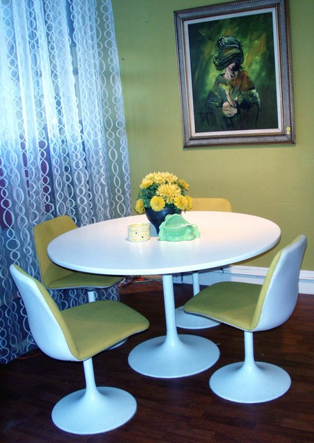 "1960's mod ""Tulip"" dining set, in the style of Eero Saarinen, vintage Swedish white laminate table and chairs in white and wool woven lemon yellow fabric.