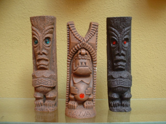 """Original""Coco Joes Tiki God statuettes made in Hawaii from Lava!  Green Jewel eyed $35.00,   Red Jeweled Belly Button Tiki God $35.00 and  Green Jewel eyed $35.00,  all approx 6"" H and signed"