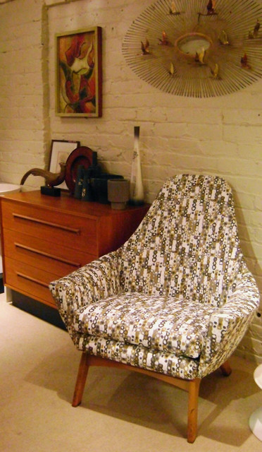 """Vintage danish modern high back lounge chair, newly upholstered in """"mod dot"""" fabric,  $1195.00"""