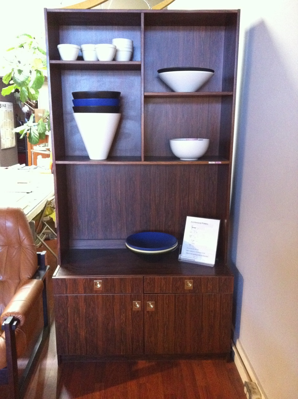 Rosewood storage unit made in Denmark by Mobler.  41 inches wide, 19 inches deep, 79.5 inches high.  SALE $895.  SKU# F0028