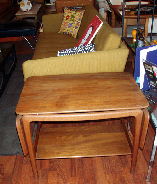 """HANS WEGNER Danish modern teak accent table with pair of drop leaf extensions, and lower shelf for storage. Perfect for serving. $1500.00 dimensions: 53""""L w/both leaves open, 30""""L both leaves dropped, 22"""" H x 20""""W  SKU# F0030"""