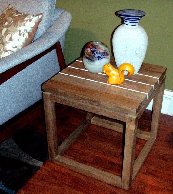 """Mid century modern style, solid teak side tables (cube design) (4 available) $499 each dimensions: 18""""H x 17 1/2""""W x 17 1/2""""L  SKU# F0016, F0017, F0018, F0019"""