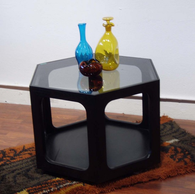 """Mod ebonized six sided end table with tinted glass and open bottom for extra storage, for magazines, pottery etc. 25""""W x 19""""H REDUCED $275  SKU# F0039"""