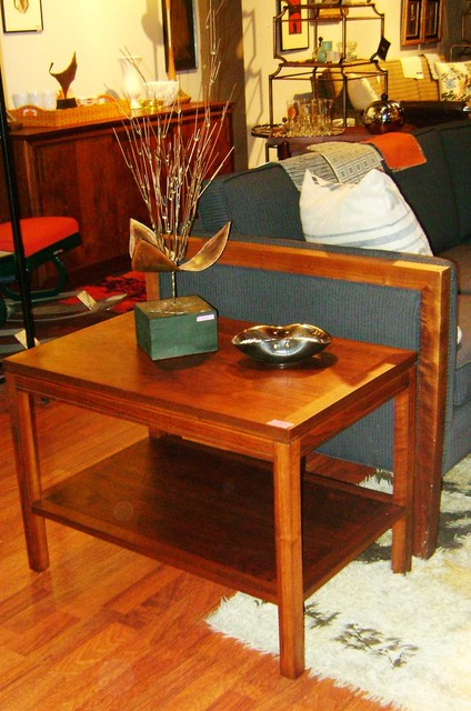 Vintage mid century Teak Side table (lower shelve)  Measures: 28 inches long, 18 inches deep, 20 inches high.  $375. SKU# TA0055