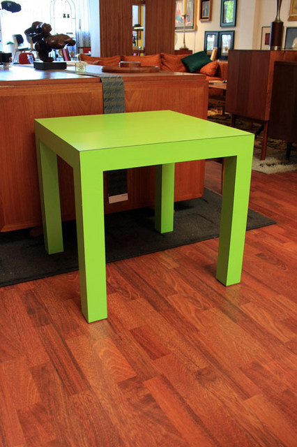 """pair of vintage lime green parsons tables.  23"""" by 23"""" by 22"""" tall.  for the pair  $700  *** SALE $500.00***** SKU# F0063"""
