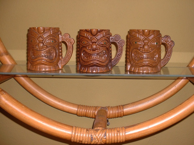 """Vintage """"Orchids of Hawaii"""" tiki mugs with emerald green jeweled eyes, approx 4""""H.  (4) Available,$30.00 ea"""