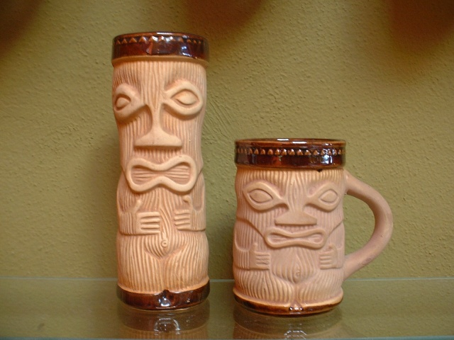 "Vintage Paul Marshall products (Japan): Tall tiki mug,PMP stamped on bottom, approx 7""H  $21.00 (4 available)  short coffee mug with original Paul Marshall foil lablel, Japan  approx 4 1/2""H $35.00 (1 available)"